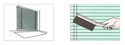 ブラインド下にシートを敷き、ハンドブラシでほこりを落としている画像