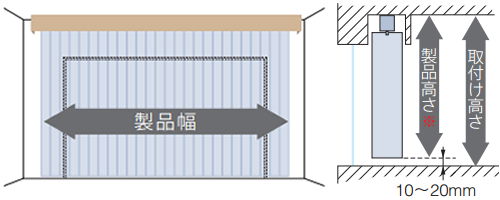 縦型ブラインド バーチカルブラインド カーテンボックス内への取付けの測り方