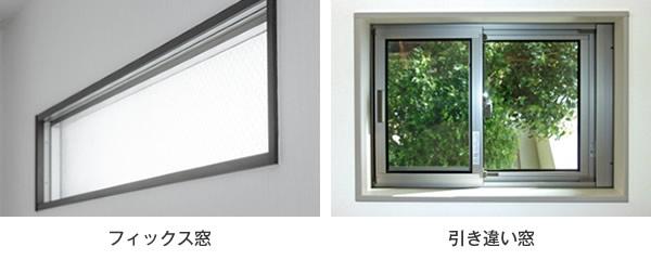 窓の種類 開閉方向 フィックス 引き