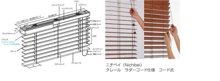 木製ブラインド ウッドブラインド 操作方法 コード式 コードタイプ