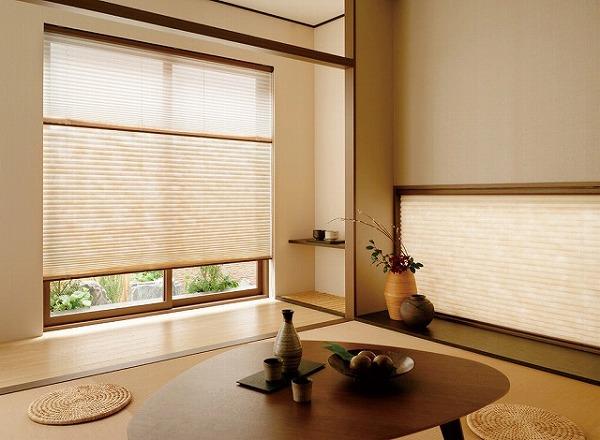 和室 ブラインド プリーツスクリーン ペアスタイル ツインスタイル 地窓とコーディネート