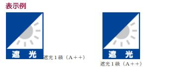 遮光等級 遮光1級を5段階に分類 表示例