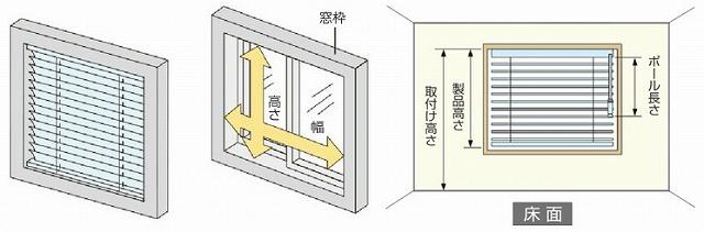 ニチベイ 出窓ブラインド 高さの測り方