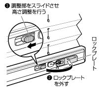 プリーツスクリーン 高さ調整機能 TOSO しおり ロックプレートを外す 調整部をスライドして調整
