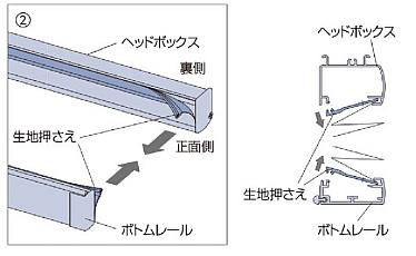 プリーツスクリーン タチカワブラインド ペルレ 生地の取替方法 生地押さえを取り外す