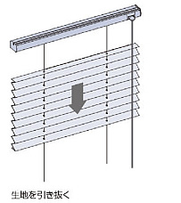 プリーツスクリーン タチカワブラインド ペルレ 生地の取替方法 本体から生地を取り外す