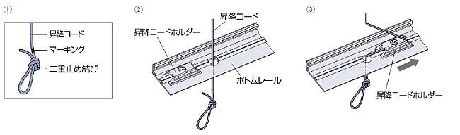 プリーツスクリーン タチカワブラインド ペルレ 生地の取替方法 昇降コードをボトムレールに通す