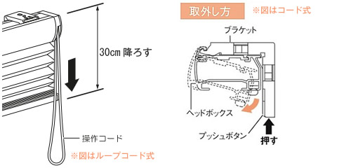 ニチベイ もなみ プリーツスクリーン 生地交換方法 製品を30cm下げる ブラケットから製品を外す