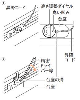 ニチベイ もなみ プリーツスクリーン 生地交換方法 高さ調整ダイヤルを持ち上げる