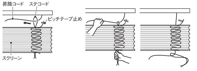 ニチベイ もなみ プリーツスクリーン 生地交換方法 取替用生地に昇降コードを通す