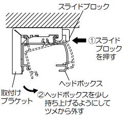 タチカワブラインド プリーツスクリーン ペルレ 製品を取外し 本体をブラケットから外す