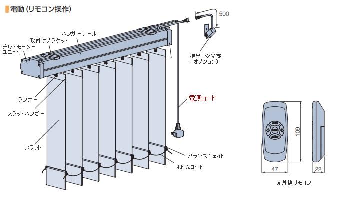 タチカワブラインド 縦型ブラインド ラインドレープ 電動式 家庭用 電源プラグを差し込むだけ