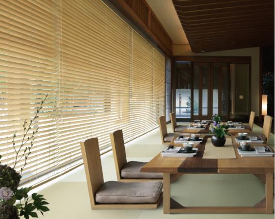 タチカワブラインド 木製ブラインド ウッドブラインド ナチュラル系 和室 ホテル