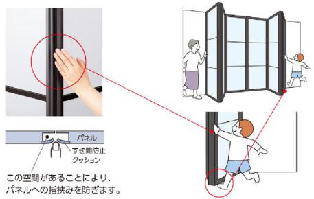タチカワブラインド プレイスウィング 間仕切り 軽量パネル 軽い操作性 指挟み防止構造 足先挟み防止構造