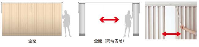ニチベイ nichibei タテ型ブラインド アルペジオ シングルスタイル バトン式 両開き仕様追加