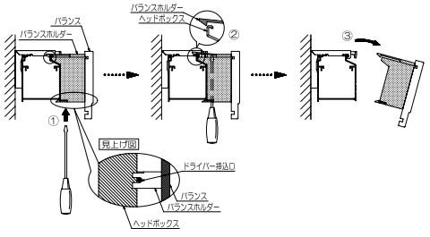 タチカワブラインド フォレティア 木製ブラインド 取外し方法 バランスを取外す