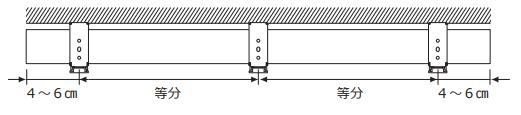 ニチベイ 木製ブラインド 取付け方法 取付け金具 取付ブラケット 左右並行に取付け 3個以上は等間隔に取付け
