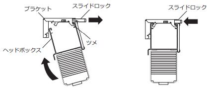 ニチベイ 木製ブラインド 取付け方法 取付け金具 スライドロックを引き出す ブラインドを押し込む スライドロックを押し込む