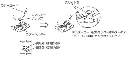 ニチベイ nichibei スラット交換 印位置に結び目を作る ラダーホルダーを付け直す