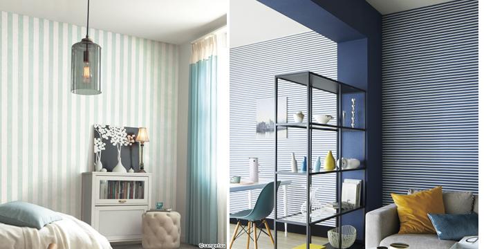 柄の効果 縦ラインの壁紙 天井を高く感じる 横ラインの壁紙 天井を低く感じる