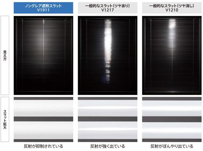 ニチベイ ノングレア遮熱スラット 一般スラットと比較画像