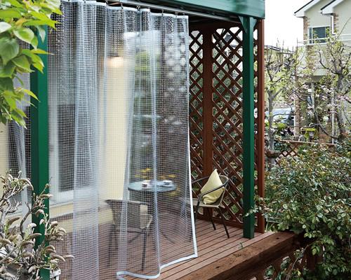 トーソー TOSO ビニールカーテン 従来品は透明生地に透明糸入り 耐久性が高い 屋外の雨・風除けにおすすめ