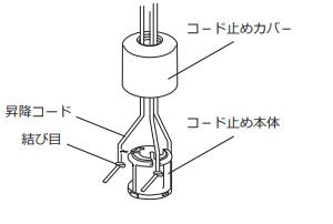 ニチベイ アルミブラインド ワンポール式 操作ポール交換方法 セレーノ ユニーク 昇降コードをコード止めカバーに通す セロテープを外す 昇降コード結び目をコード止め本体に取り付ける