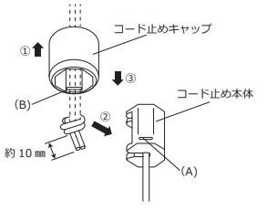 ニチベイ アルミブラインド セレーノオアシス セレーノフィット ユニーク ストッパー交換方法 昇降コードを結ぶ コード留めキャップに通して、コード止め本体に納める キャップと本体を嵌合させる