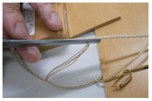 ウッドブラインド クレール ニチベイ 丈詰め方法 詰める高さ分の横糸を切断
