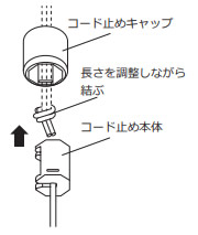 ニチベイ アルミブラインド セレーノ 昇降コード 交換方法 ポール式 コード長さを調整しながら結び目を作る コード止め本体に固定