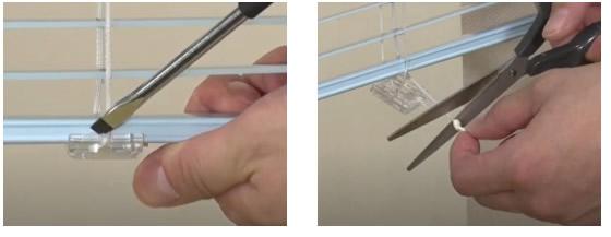 トーソー TOSO 昇降コード 交換方法 ベネアル ボトムカバーを外す 昇降コードを引き出し、結び目をカット