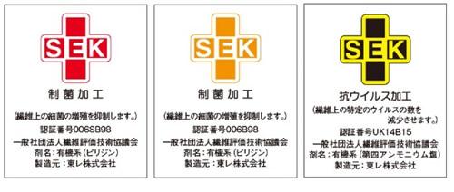 SEKマーク 抗ウイルス加工 抗菌加工 安全性と性能を保障