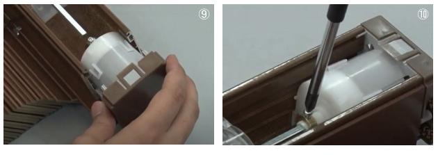 ウッドブラインド 木製 TOSO ベネウッド ギヤボックス 交換方法 ギヤボックスをヘッドボックスに挿入 ギヤボックスにシャフトを挿入 固定ネジを締める