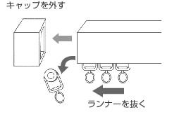 ブラインドをカーテンレールに取付る際はまずキャップとランナーを取る