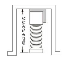 たたみ込んだブラインドサイズ(寸法)の目安