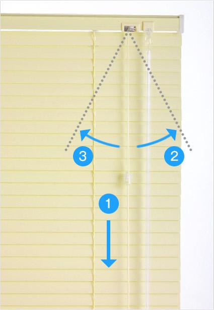 ポール式ブラインドの昇降操作は操作コードを使用