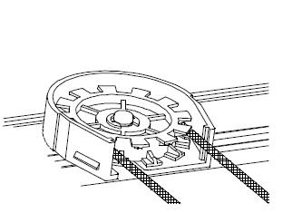 操作コードのギヤ部分のフロントカバーをマイナスドライバーで開けます