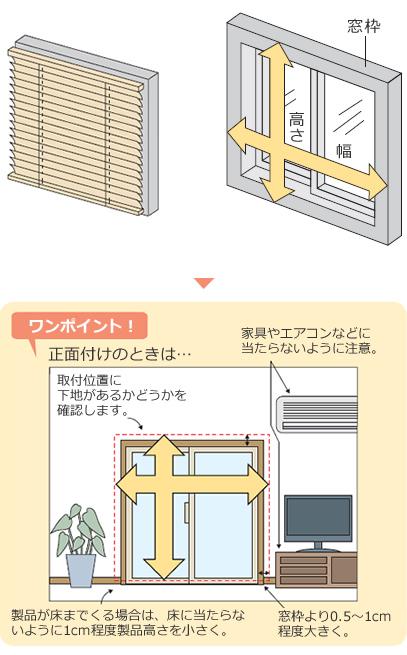 正面付けの場合は下地の有無やエアコンの位置、床までの場合は1cm程度短く見積もる等ご注意ください
